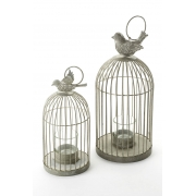 Antiqued Metal Tealight Cage with Bird