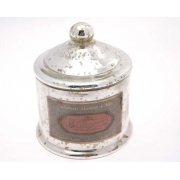 Round Silvered Glass Storage Pot