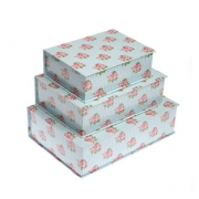 Blue Floral Boxes Set of 3