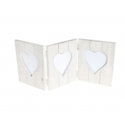 Vintage Wooden Triple Heart Photo Frame