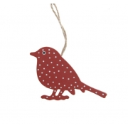 Red & White Polka Dot Hanging Bird
